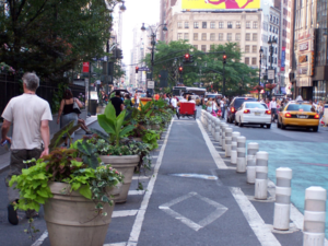 Short thick bollards in New York, NY